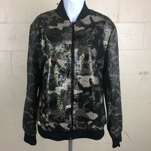 INC Women's Full Zip Jacket Size S Camo